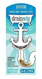 DrainWig- Bathtub Drain (2Pack), Never Clean a Clogged Drain Again, Hair Strainer, Hair Snare, As Seen on Shark Tank