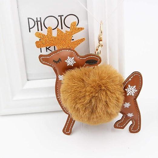 Shisky Llavero,Bola de Pelo de Ciervo de Navidad Llavero ...