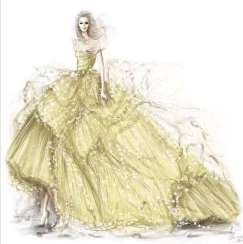 sasdasld New Diamond Embroidery Wedding Dress Diamond Mosaic Full Square/Round Drills Home Decoration Artwork Diamond Painting-(16inX20in) by sasdasld