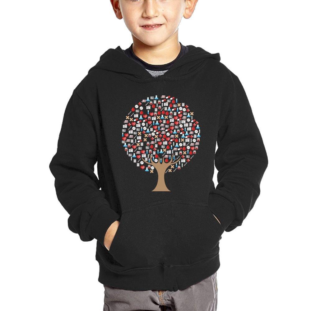 Tree Medical Treatment Boys Casual Soft Comfortable Sweatshirts Pocket Hoodies