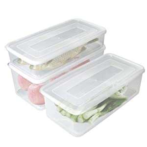 Food Storage Container, Fridge Organizer Case with Removable Drain Tray To Keep Fresh for Produce, Fruits, Vegetables, Meat and Fish - 3 Sizes