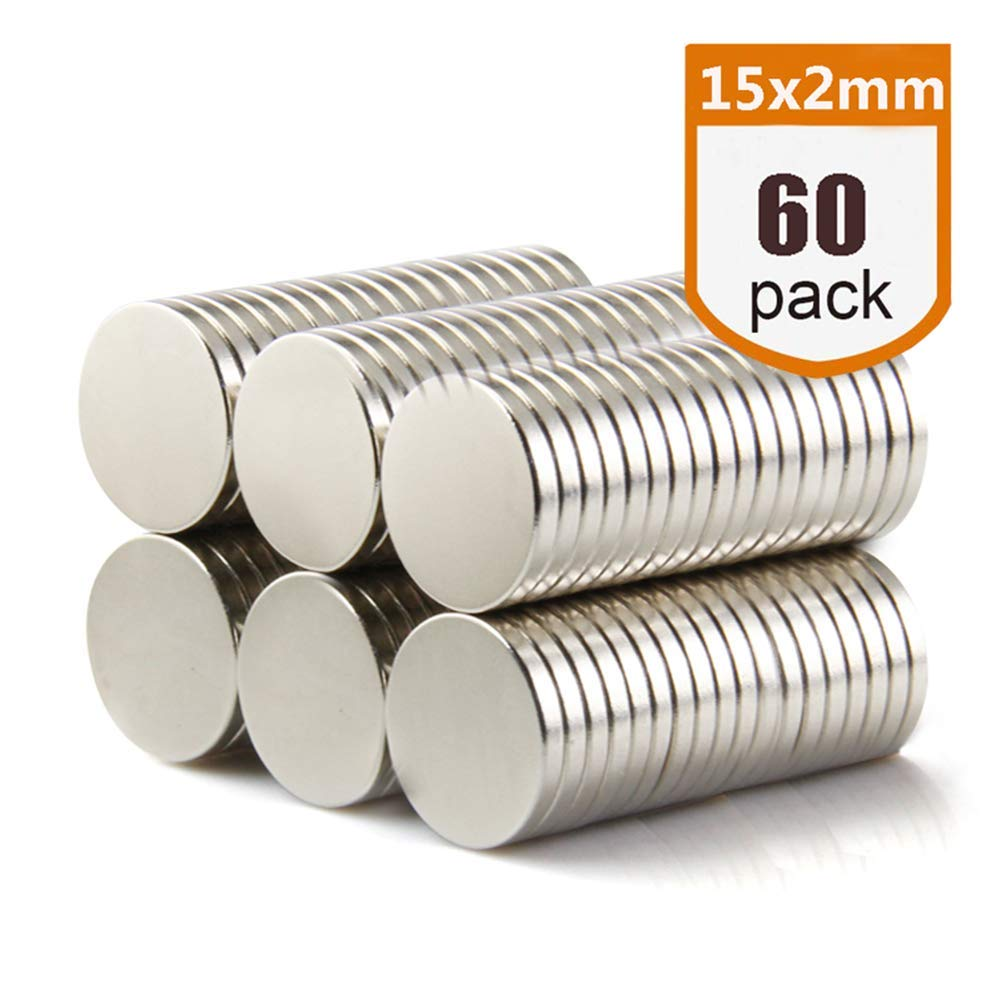 LTKJ 60pcs 15x2mm Round Refrigerator Magnets,Premium Brushed Nickel Fridge Magnets,Multi-Use for Home, Kitchen,Craft Projects,Office,DIY, Arts,Whiteboard