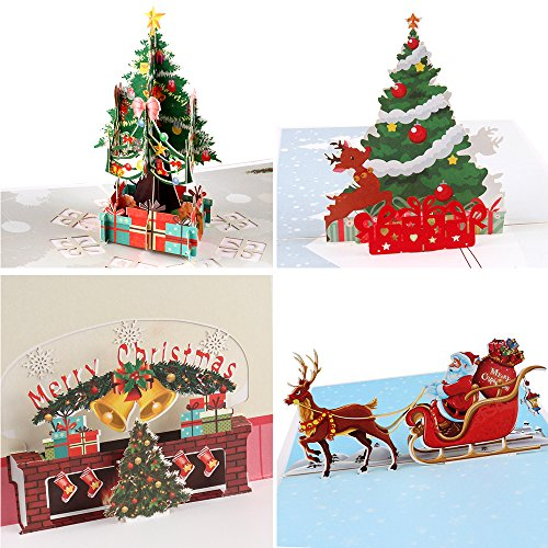 Coogam 3D Pop Up Christmas Cards, 4 Pack Blank Greeting Holiday Cards with Envelope Stickers New Year Handmade Gifts Xmas Galloping Reindeer Santa Bells Tree