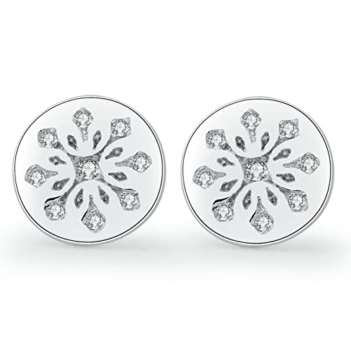 0cdfd7ed9c17c YAN & LEI Sterling Silver Stamped Snowflake Stud Earrings