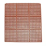 Rubber-Cal 03_126_INT_WRD ''Dura-Chef Interlock'' Anti-Fatigue Rubber Floor Matting, 5/8'' x 36'' x 36'', Red