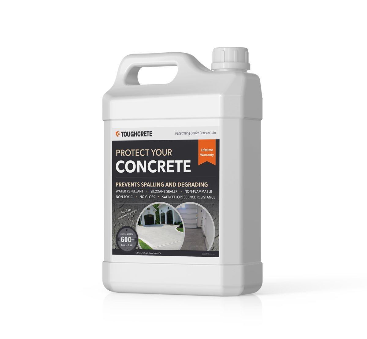 ToughCrete Concrete Sealer - 1 Gallon (Covers 600SqFt) - The #1 Sealant for Driveways, Garage Floors, Sidewalks, Patios, and Other Cocrete Surfaces