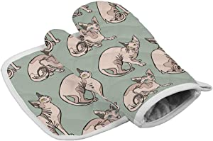 Hairless Naked Cats Sphynx Cats Pattern Mint Green Oven Mitts,Professional Heat Resistant Microwave BBQ Oven Insulation Thickening Cotton Gloves Baking Pot Mitts with Soft Inner Lining
