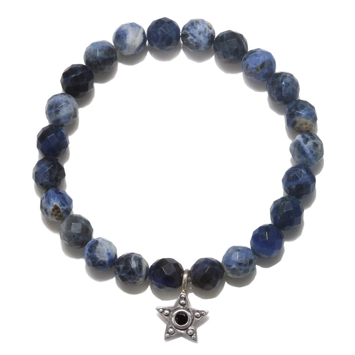 Satya Jewelry Women's Sodalite Silver Star Stretch Bracelet, Blue, One Size BS5-93