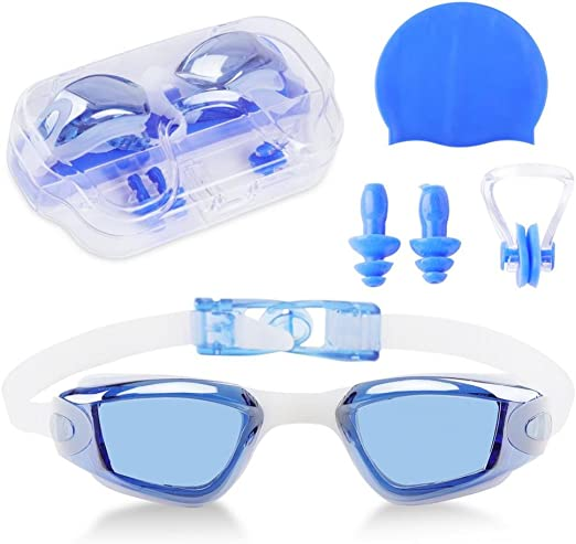No Leaking Pink UV Protection Shatterproof Nose Clip and Ear Plugs Anti-Fog No Leaking Shatterproof iGopeaks Kids Swim Goggles for Children and Early Teens from 3 to 13 Years Old with Cap UV Protection Nose Clip and Ear Plugs Anti-Fog