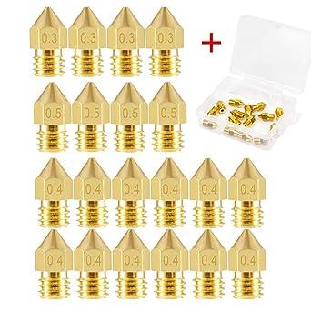 SOOWAY 20 boquillas para impresora 3D MK8 0.3 mm, 0.4 mm, 0.5 mm ...