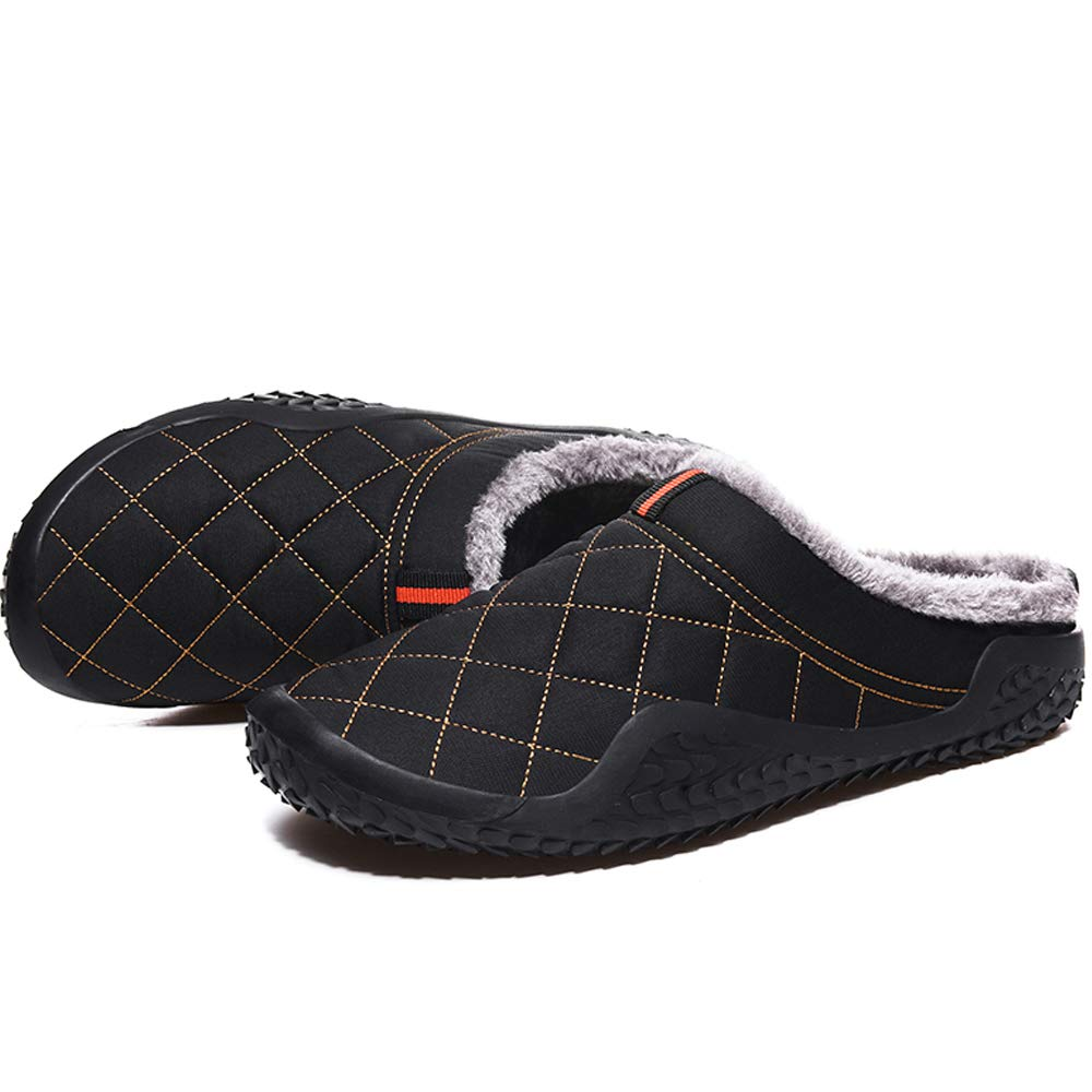 YiMeng Mens House Slippers Slip on Winter Warm Fully Fur Lined Outdoor Indoor Anti-Slip Slippers