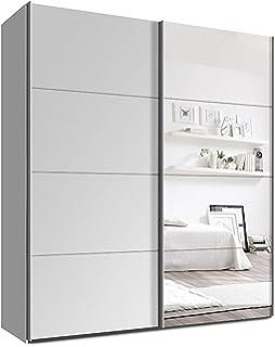 Spiegel kleiderschrank  Schwebetürenschrank, Kleiderschrank, ca. 200 cm, Weiss mit Spiegel ...