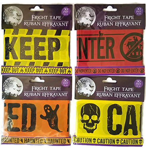 Halloween Caution, Keep Out, Haunted House and Do Not Enter Tape Set of 4 -