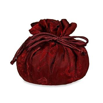 Amazoncom Drawstring Jewelry Pouch Silk Jacquard Chili Red