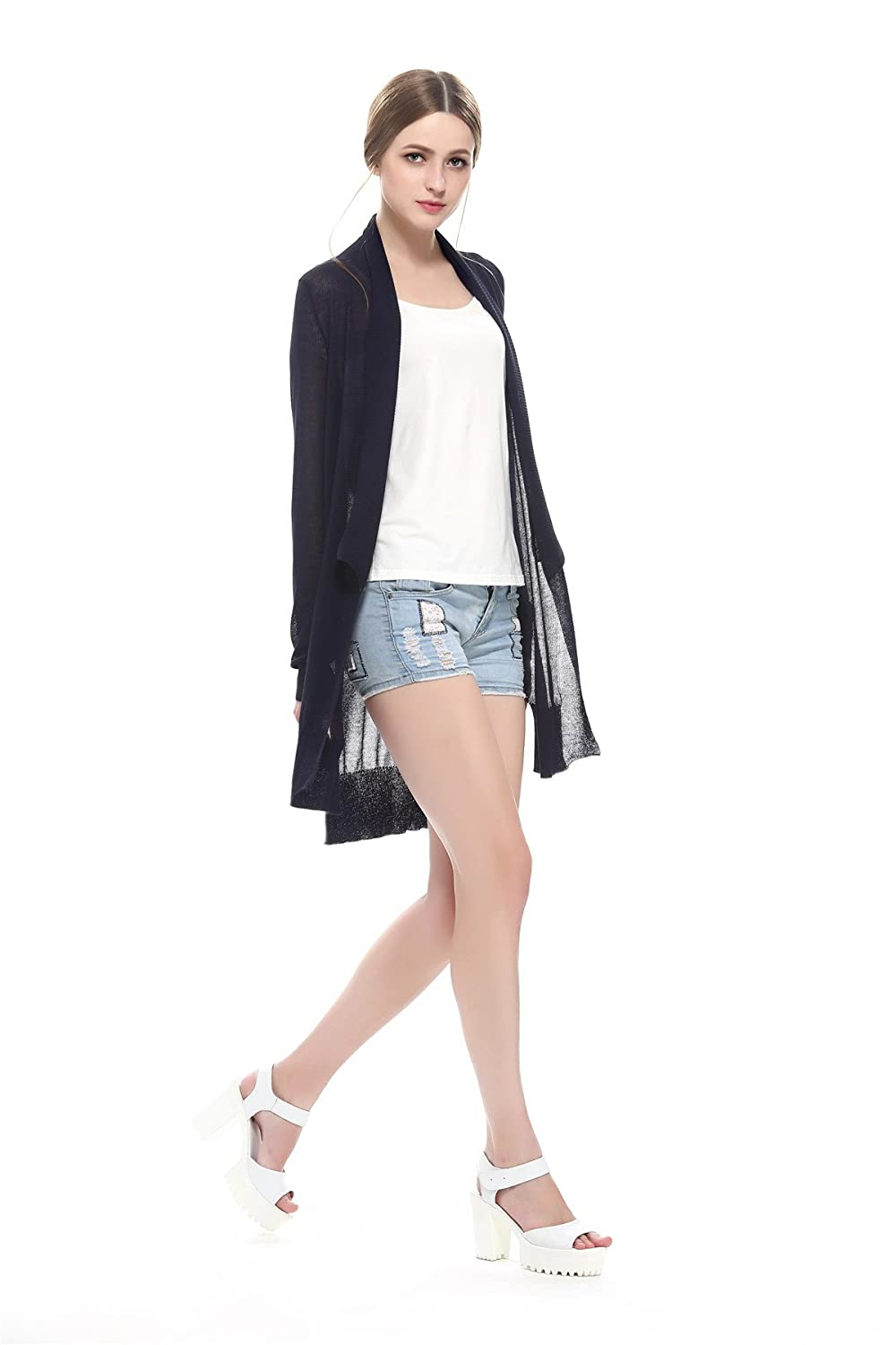 Escalier Women's Light Casual Irregular knit cardigan Sheer Kimono Cardigan Blouses