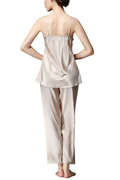 Dolamen Womens Nighties Satin and Pyjamas Set 3-In-1 Pyjamas Set Nightwear at Amazon Womens Clothing store: