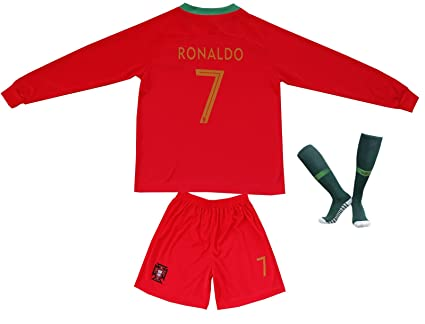 0daf61153c5a4 FPF 2015 Portugal Cristiano Ronaldo  7 Home Football Soccer Kids Jersey  Short Socks Set Youth