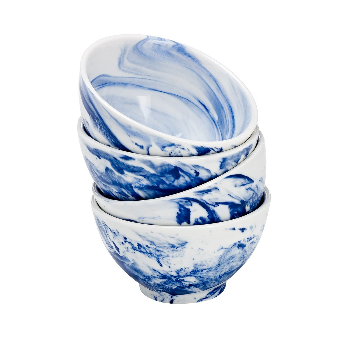 overandback 809714 Marble Finish Bowls, Set of 4, Blueberry