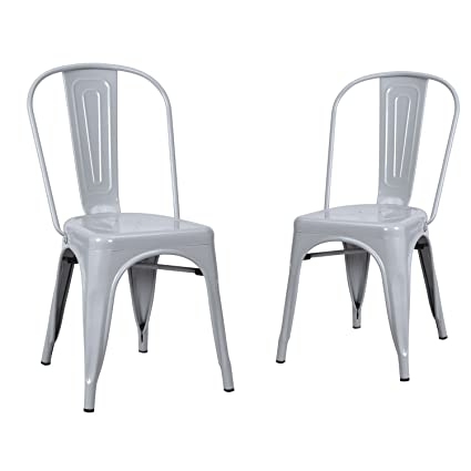 Incroyable Homebeez Metal Stacking Chairs Outdoor And Indoor. Industrial Chic Dining  Bistro Cafe Chair (2