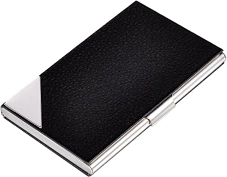 GIFTS FOR MEN Black Leather Stainless Steel Business Card Holder Case Office