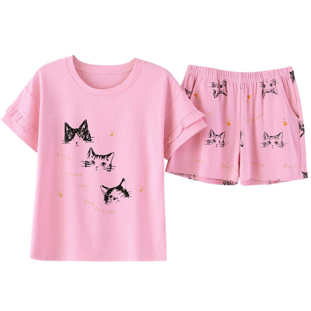 ENJOYNIGHT Big Girls Cute Cartoon Print Tee and Shorts Pajama Set (Large, Cat)