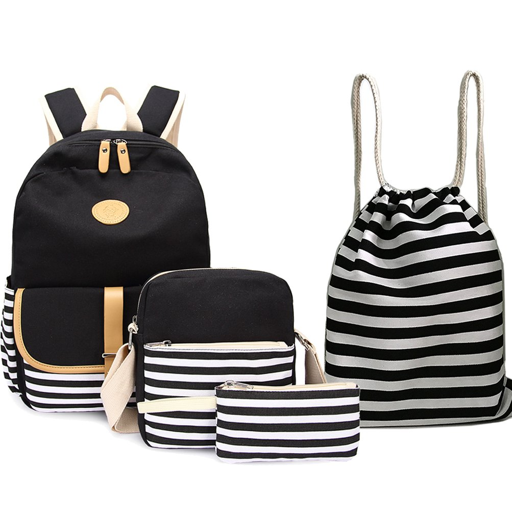 b3d52d1dbc00 BAGTOP School Backpack Set - Canvas Teen Girls Bookbags 15