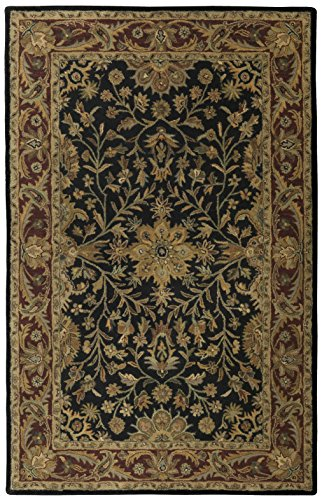 Regal 4x6' Black / Burgundy Wool (Gold Medallion Kashan Rug)