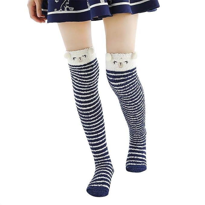 VJGOAL Mujeres Invierno moda casual Grueso Pesado Caliente Transpirable Lindo Fuzzy Coral fleece Calcetines de Piso Calcetines largos(Un tamaño, ...