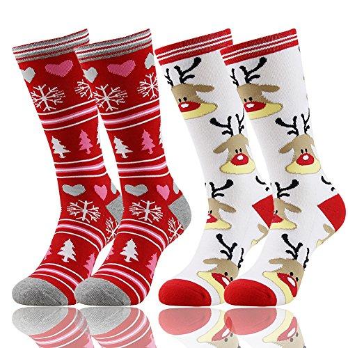 (Gmall Women Men Thick Sole Warm Calf Fashion Style Cartoon Pattern Christmas Gift Socks One Size,2 Pairs)