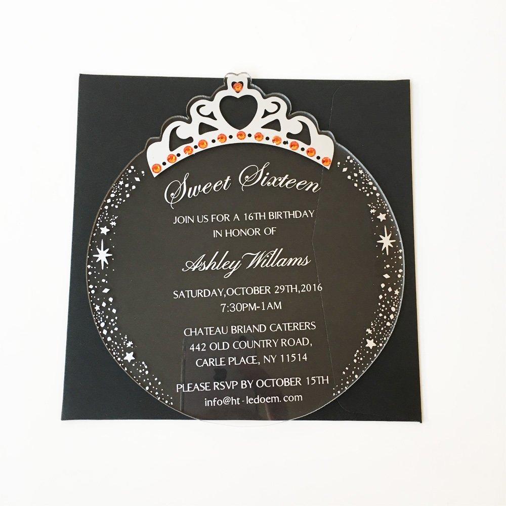 Customized 150x170mm Round Princess Crown Shape Clear Acrylic Birthday Invitation Card Sweet Sixteen Invitation Card 50pcs Per Lot