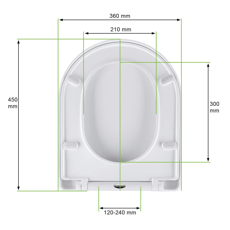Klo Deckel abnehmbar Toilettensitz Einfacher Einbau von oben Leicht zu Zerlegen und zu Reinigen. Omasi WC Sitz D-Form Toilettendeckel mit Absenkautomatik