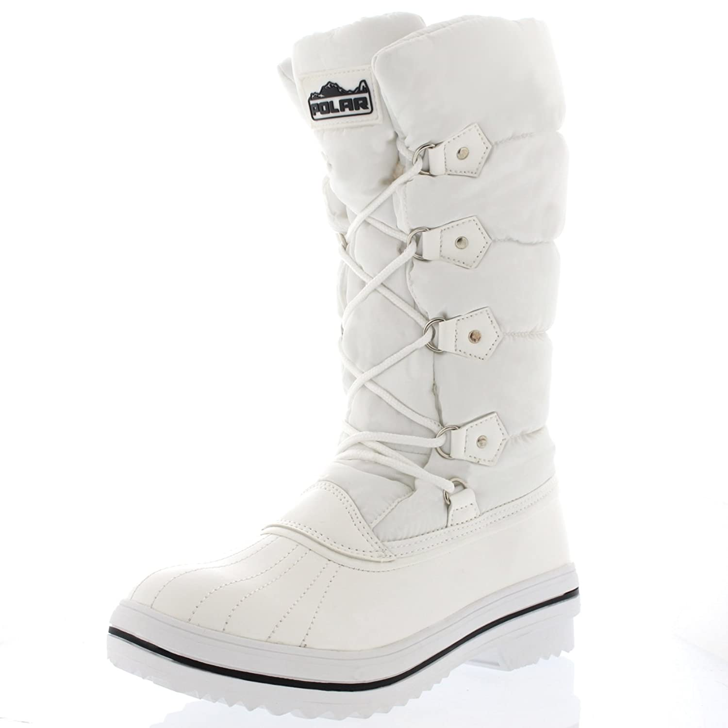 Womens Nylon Fur Lined Rubber Sole Winter Puff Quilted Water Proof Snow Rain Boots