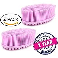 (2 Pack) Bath Scrubber Avilana Bath & Shower Loofah Brush 2 in 1 Face & Body scrub Gentle body brush Skin 100% Better Scrubber Silicone Shower Loofah Sponge for Body Scrubber Brush