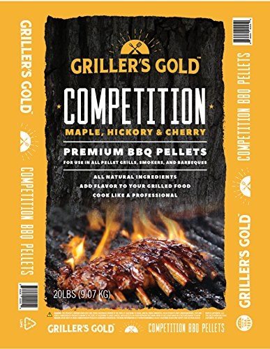 Griller's Gold Premium BBQ Pellets - Maple, Cherry, Hickory Competition Blend, 20 lbs, All Natural Barbecue Smoker Pellets