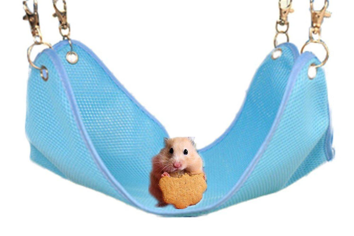 Spaufu Hamac pour Hamster Cage Couchage Jouets pour Petit Animal Hamster Souris Hérisson Chinchilla en Coton Respirant Anti-odeurs Anti-taches avec Trou (Jaune)
