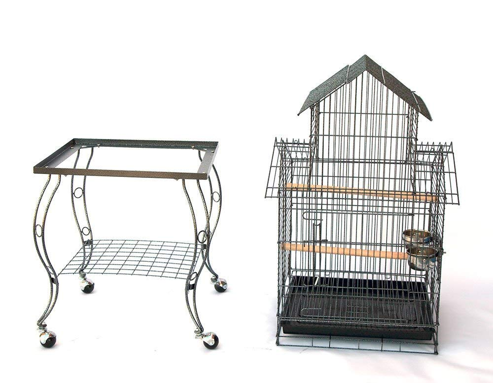 Bird Parrot Cage with Stand Cockatiel Amazon African Grey Caique Conure, 20 X 20 X 57 1/2'' h by CageMart