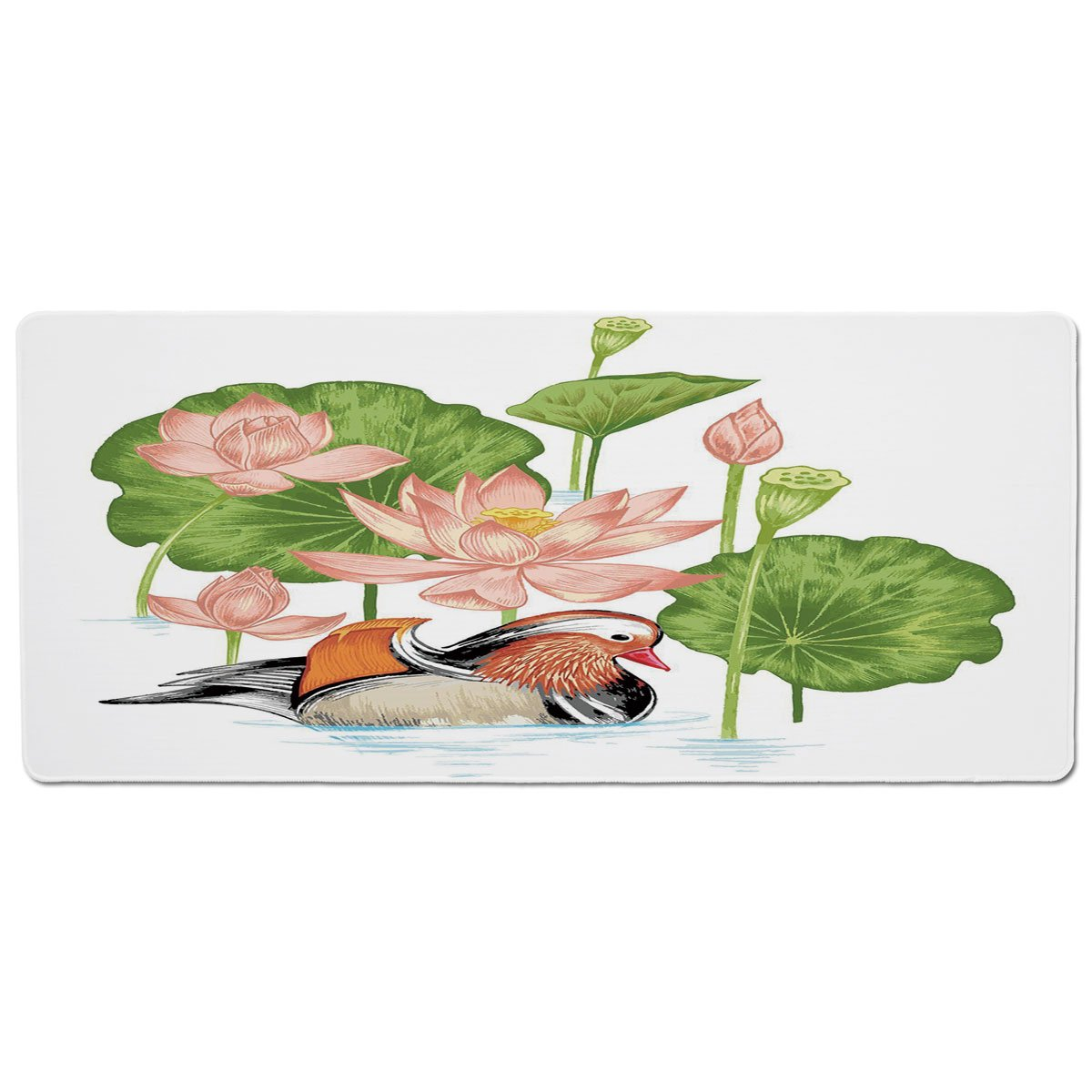 35.4\ Pet Mat for Food and Water,Duck,Baby Mandarin Duckling in Pond with Lotus Lily Flowers Water Painting Style,White Green and Pink,Rectangle Non-Slip Rubber Mat for Dogs and Cats