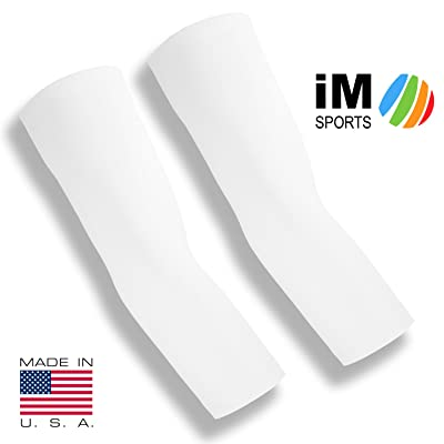 iM Sports POWERHOUSE Weightlifting Elbow Compression Sleeves + Comfort Fabric Blend + Unisex + Made in USA - (pair of weightlifting elbow compression sleeves)