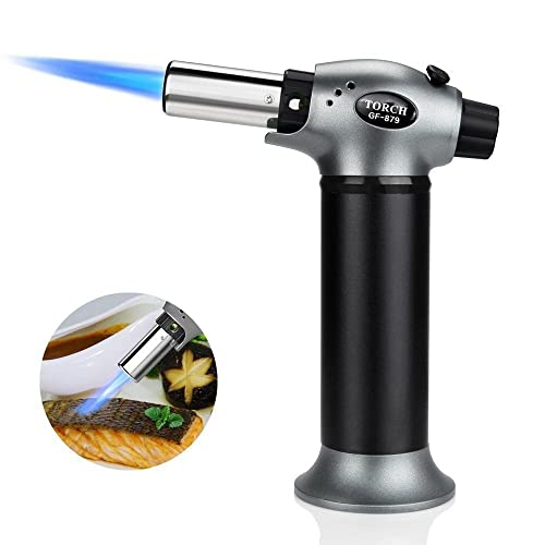 Blow Torch, Baztoy Refillable Kitchen Butane Torch Fire Starter Lighter, Portable Cooking Gadget with Safety Lock Adjustable Flame for BBQ Heating Baking Soldering Camping for Home Indoor Outdoor Use