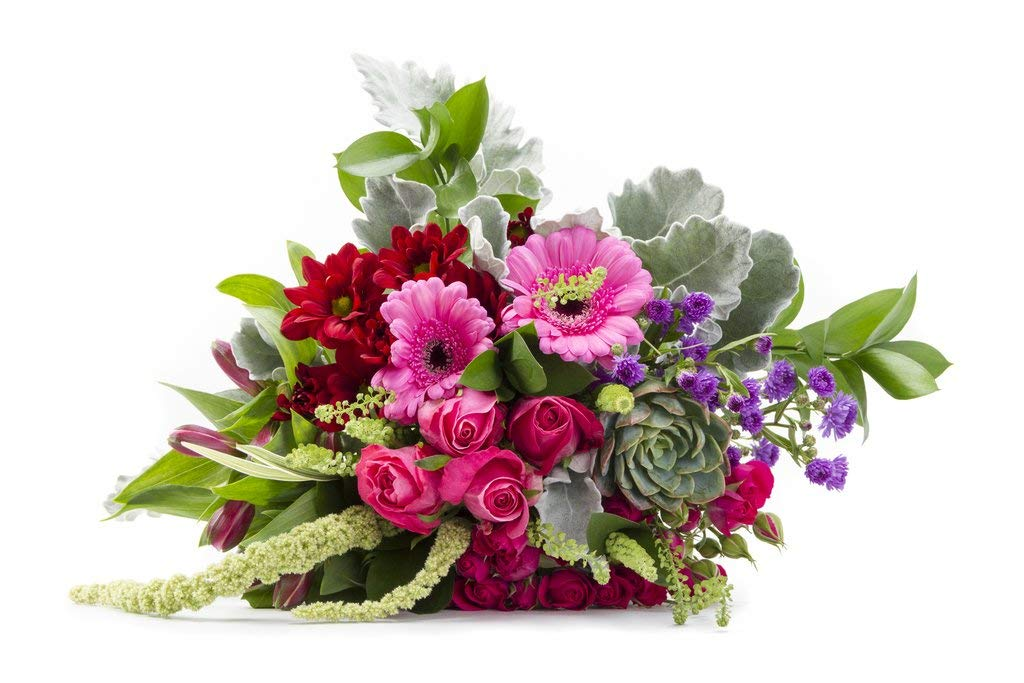 Fond Feelings Pink Roses and Red Gerberas Romantic and Rustic Arrangement Sustainably Grown and Harvested, No Vase Included