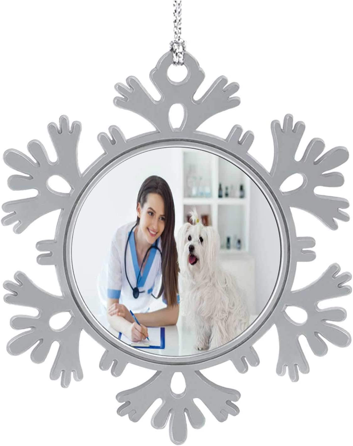 C COABALLA Happy White Dog and Beautiful Veterinarian Doctor in Vet Clinic Hospital,Cute 2020 Home Décor Hanging Snowflake Decorations Ornament 5PCS