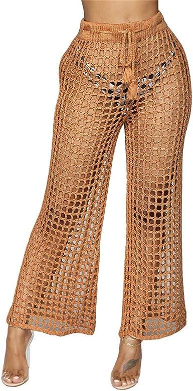Qiyun Z Pantalones De Playa Sexy Para Mujer Calados Pantalones De Punto De Encaje Amazon Es Ropa Y Accesorios