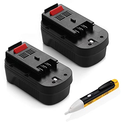 Powerextra actualizado 2 Pack 3000 mAh Black & Decker 18 V batería de repuesto para HPB18
