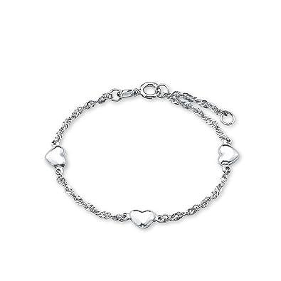 amor Damen-Armband 19cm mit Herz-Anhängern 925 Silber rhodiniert ... 30c6001dc2