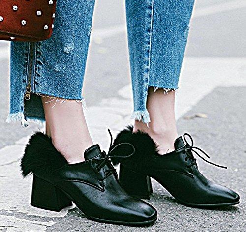 Idifu Mujeres Fashion Chunky Mid-heeled Square Toe Lace Up Low Cut Bombas Zapatos Negro
