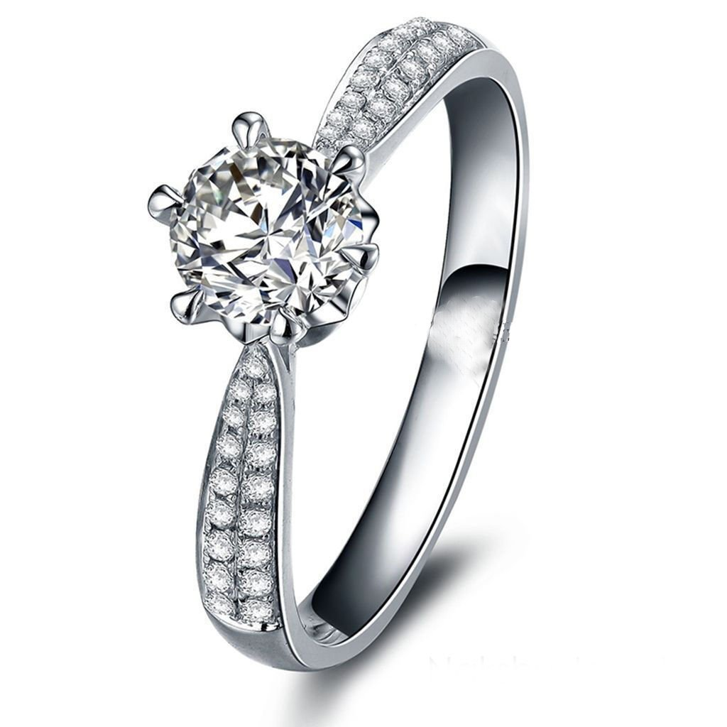 4.04 Ct+ D-H Color VVS1 Great Round White Engagement Gorgeous Silver Plated Ring.