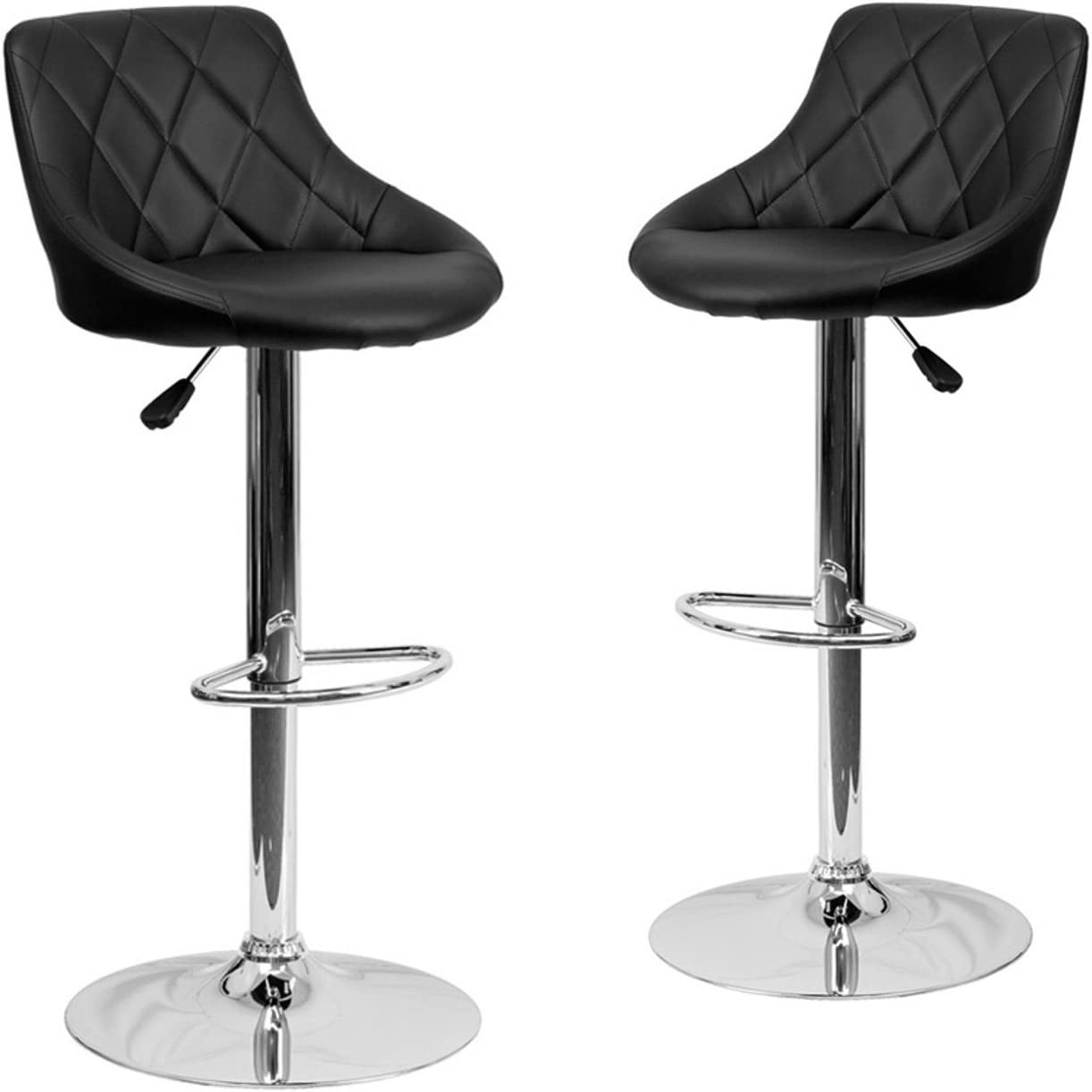 BELLEZE Set of 2 Black Faux Leather Bucket Seat Adjustable Barstool