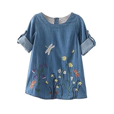 27f34e8e88a96 Amlaiworld Toddler Kids Baby Girls Clothes Flower Embroidery Denim Princess  Dresses