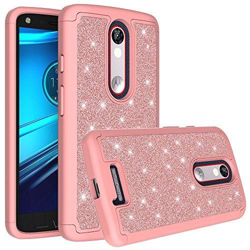 DROID Turbo 2 Case, Glitter Bling Shock Proof Hybrid Case with [HD Screen Protector] Dual Layer Protective Phone Case Cover for Motorola Verizon DROID Turbo 2 / Moto X Force (2015) - (Rose Gold)