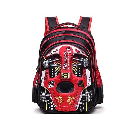 XMCOWAYOU Water Resistant Boys Backpack 3D Cute Car Cartoon School Book Bag Red Grades 3-4